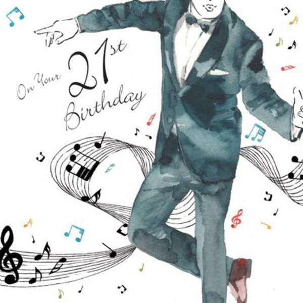 21st Music Singer Birthday Card