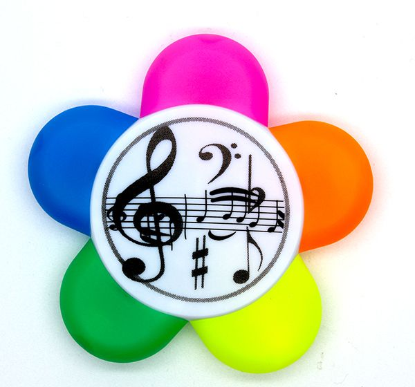5 Colour Treble Clef Highlighter - Music Stationery | musical gifts online