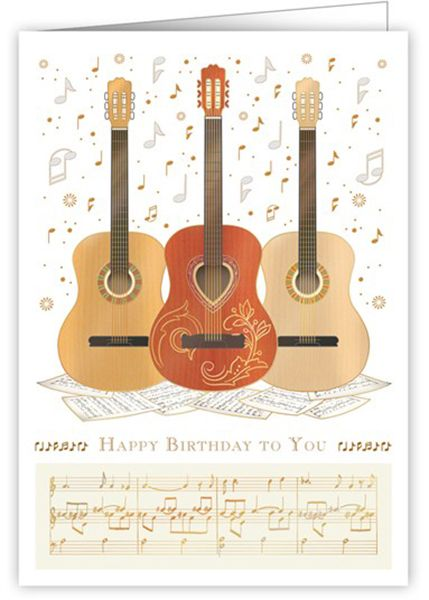 Birthday Card 3 Acoustic Guitars By Quire Music Card Musical