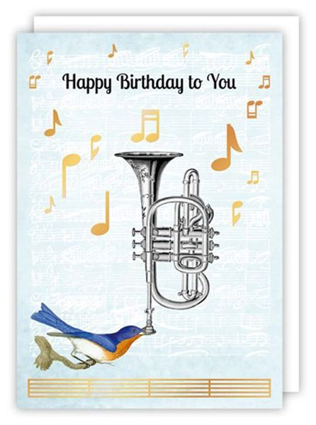 Cornet Bird Birthday Card By Quire