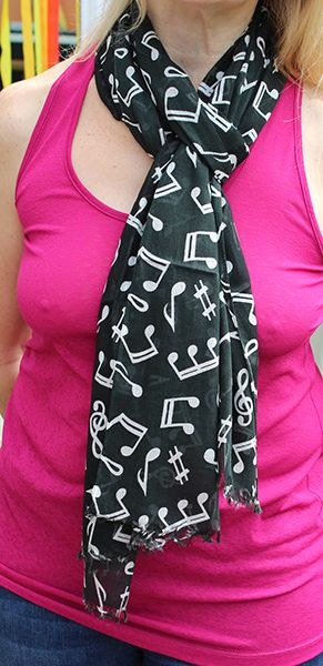 Black Scarf with Silver Notes by York Scarves