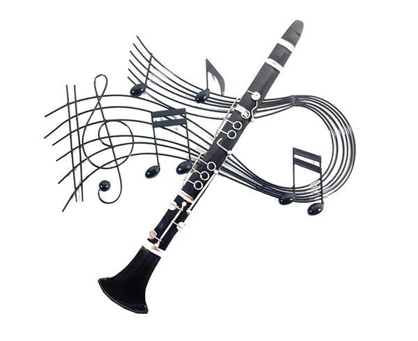Clarinet Swirl Metal Wall Art - Music Wall Art | musical gifts online