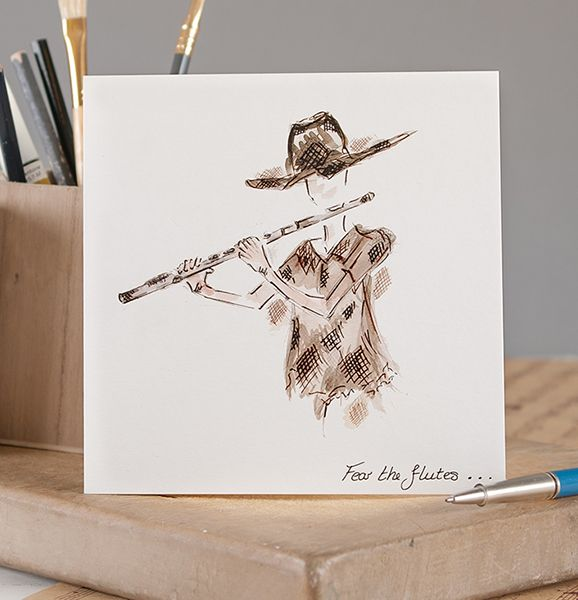 Fear The Flutes Greetings Card by Claire Louise