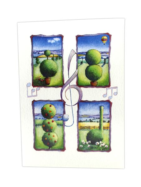 Music & Garden Scene Greetings Card by Penny Gaj | musical gifts online