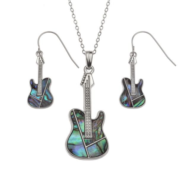 Guitar Paua Necklace & Earrings - Music Jewellery | musical gifts online