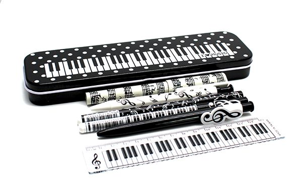 Keyboard Dots Tin Pen Stationery Set - Music Stationery | musical gifts online