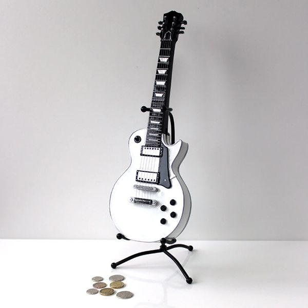 White Vintage Guitar Money Box - Music Gift | musical gifts online