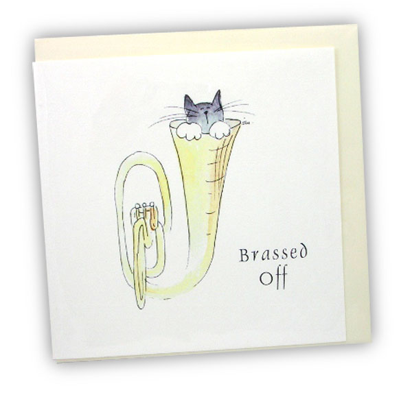Musical Cats Brassed Off Greetings Card by Col Cards
