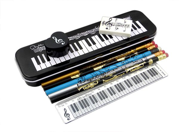 Musical Instrument Tin Pencil Case Stationery Set | musical Gifts Online
