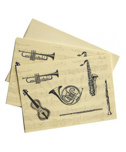 Musical Instrument Notelets – Music Stationery | musical gifts online