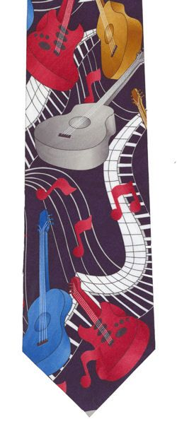 Red, Blue, Gold & Grey Guitars on Navy Tie by Tie Studio