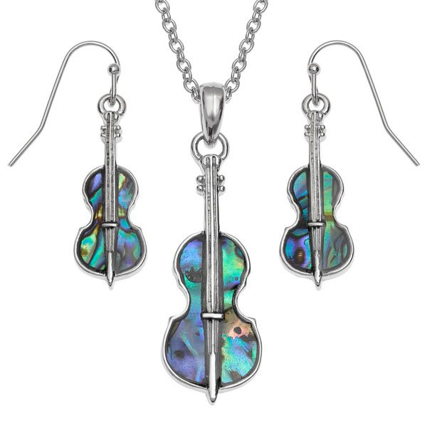 String Instrument Paua Necklace & Earrings - Music Jewellery | musical gifts online