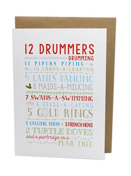 The 12 Days Of Christmas.Twelve Days Of Christmas Card By Ms