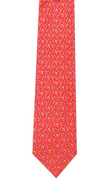 Yellow Blue Notes on Red Silk Tie by Tie Studio